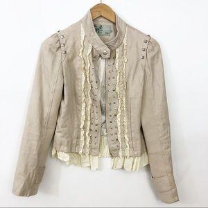 Ryu Ruffled Zip Up Jacket Size Medium 0811